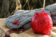 Γάντια και μήλο καραμελών Στοκ εικόνα με δικαίωμα ελεύθερης χρήσης