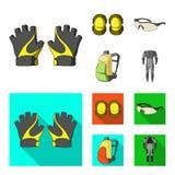 Γάντια, μαξιλάρια αγκώνων, προστατευτικά δίοπτρα, σακίδιο πλάτης ποδηλατών Καθορισμένα εικονίδια συλλογής εξαρτήσεων ποδηλατών στ Στοκ Φωτογραφία