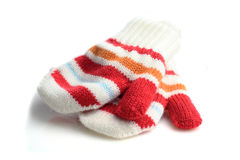 Γάντια μωρών στο άσπρο υπόβαθρο Στοκ Εικόνες
