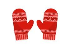Γάντια, που απομονώνονται κόκκινα απεικόνιση αποθεμάτων