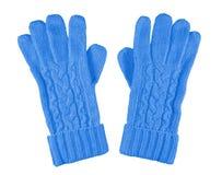 Γάντια που απομονώνονται μάλλινα - ανοικτό μπλε Στοκ φωτογραφίες με δικαίωμα ελεύθερης χρήσης