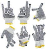 γάντια χειρονομιών που τίθ Στοκ φωτογραφία με δικαίωμα ελεύθερης χρήσης