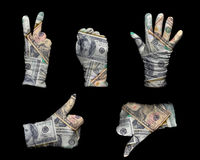 Γάντια χρημάτων Στοκ φωτογραφία με δικαίωμα ελεύθερης χρήσης