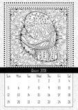 Γάντι με το σχέδιο τοπίου doodle, ημερολογιακό τον Αύγουστο του 2018 Στοκ Εικόνα