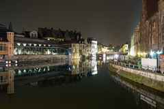 Γάνδη τη νύχτα Στοκ φωτογραφίες με δικαίωμα ελεύθερης χρήσης
