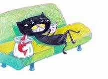 Γάτα ανάγνωσης Στοκ φωτογραφία με δικαίωμα ελεύθερης χρήσης