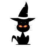 Γάτα αποκριών κάτω από το καπέλο της μάγισσας Στοκ Φωτογραφία