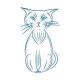 γάτα γκρινιάρα Handdrawn Στην άσπρη ανασκόπηση Στοκ Φωτογραφία