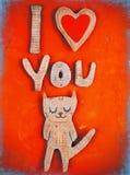 Γάτα εγγράφου ερωτευμένη Στοκ εικόνες με δικαίωμα ελεύθερης χρήσης
