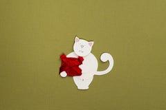 Γάτα εγγράφου με το κιβώτιο δώρων applique Στοκ Εικόνες