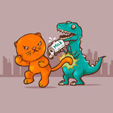 Γάτα εναντίον του Dino Στοκ φωτογραφίες με δικαίωμα ελεύθερης χρήσης