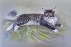 Γάτα ζωγραφικής Στοκ φωτογραφία με δικαίωμα ελεύθερης χρήσης