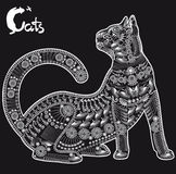 Γάτα, διακοσμητικό σχέδιο για μια δερματοστιξία ή διάτρητο Στοκ Εικόνες