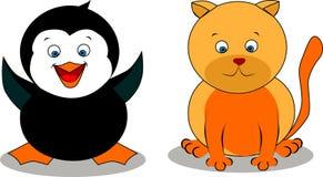 Γάτα και ένα penguin Στοκ Εικόνες