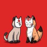 Γάτα και αλεπού που φορούν την ιαπωνική μάσκα Στοκ Φωτογραφίες