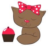 Γάτα και κέικ Στοκ Εικόνες