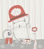 Γάτα και καπέλο Στοκ Εικόνες