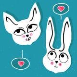 γάτα και κουνέλι, με μια ρόδινη φυσαλίδα καρδιών Στοκ Φωτογραφία