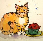 Γάτα και κόκκινο cupcake Στοκ εικόνες με δικαίωμα ελεύθερης χρήσης