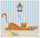 Γάτα και ποντίκι που έχουν το μεσημεριανό γεύμα Στοκ Εικόνες