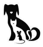 Γάτα και ποντίκι σκυλιών διανυσματική απεικόνιση