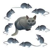 Γάτα και ποντίκι διανυσματική απεικόνιση
