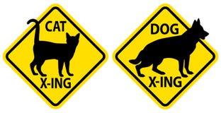 Γάτα και σκυλί που διασχίζουν τα σημάδια Στοκ Εικόνες