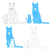 Γάτα και σκυλί συνεδρίασης Στοκ Εικόνα