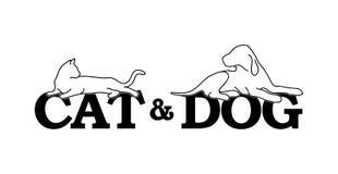 Γάτα και σκυλί Στοκ Φωτογραφίες