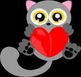 Γάτα κινούμενων σχεδίων με την κόκκινη καρδιά 2 Στοκ εικόνα με δικαίωμα ελεύθερης χρήσης