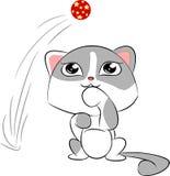 Γάτα κινούμενων σχεδίων με την κόκκινη σφαίρα Στοκ εικόνες με δικαίωμα ελεύθερης χρήσης