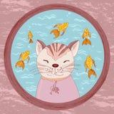 Γάτα κινούμενων σχεδίων που κοιτάζει στο κύπελλο goldfish Στοκ Φωτογραφία