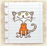 Γάτα κινούμενων σχεδίων στη σημείωση εγγράφου, διανυσματική απεικόνιση Στοκ εικόνα με δικαίωμα ελεύθερης χρήσης