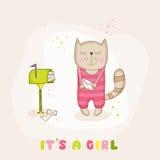 Γάτα κοριτσάκι με το ταχυδρομείο - ντους μωρών ή κάρτα άφιξης ελεύθερη απεικόνιση δικαιώματος