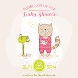 Γάτα κοριτσάκι με το ταχυδρομείο - ντους μωρών ή κάρτα άφιξης διανυσματική απεικόνιση