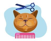 Καλλωπισμός γατών Γάτα κουρέματος Σαλόνι για τα ζώα διανυσματική απεικόνιση