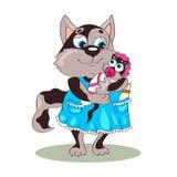 Γάτα μαμών σε ένα φόρεμα που κρατά ένα γατάκι τα ενδύματα και μια ΚΑΠ Προσοχή Mom διάνυσμα Στοκ Εικόνες