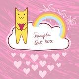 Γάτα με την αγάπη της καρδιάς Στοκ Εικόνες