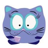 Γάτα με το φλυτζάνι Στοκ εικόνα με δικαίωμα ελεύθερης χρήσης