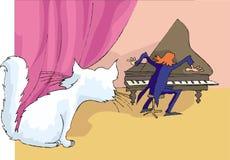 γάτα πολύ στο ρολόι Απεικόνιση αποθεμάτων