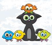 γάτα πουλιών που χρωματίζ&eps Ελεύθερη απεικόνιση δικαιώματος