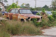 Γάτα που ανατρέχει παλαιό αυτοκίνητο, που περιμένει ένα σπάσιμο στην Ταϊλάνδη ο ουρανός, καφετιά εικόνα τόνου Στοκ Εικόνα