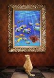 Γάτα που εξετάζει ένα πορτρέτο μιας εικόνας udewater σε ένα χρυσό fra στοκ εικόνες με δικαίωμα ελεύθερης χρήσης