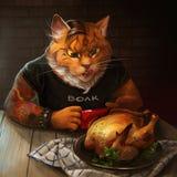 Γάτα που εξετάζει το τηγανισμένο κοτόπουλο διανυσματική απεικόνιση