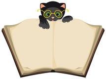 Γάτα που διαβάζει το ανοικτό βιβλίο Στοκ Φωτογραφίες