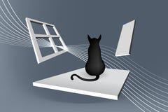 Γάτα που κάθεται την αφηρημένη απεικόνιση Στοκ εικόνες με δικαίωμα ελεύθερης χρήσης