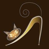Γάτα πυράκτωσης σε ένα σκοτεινό υπόβαθρο διανυσματική απεικόνιση