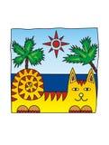 Γάτα στην παραλία Tourizm ήλιος φοινικών Θετική εικόνα απεικόνιση αποθεμάτων