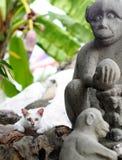 Γάτα στο άγαλμα αριθμού πετρών τεχνών Στοκ φωτογραφία με δικαίωμα ελεύθερης χρήσης