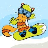 Γάτα στο σνόουμπορντ Snowboarder επίσης corel σύρετε το διάνυσμα απεικόνισης Στοκ εικόνα με δικαίωμα ελεύθερης χρήσης